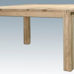Montana Woodworks - 4-Post Dining Table - Handcrafted. Rustic timber frame design. Heirloom quality. U.S. grown pine edge-glued panels for a stable surface. Made from solid U.S. grown wood. Made in USA. Minimal assembly required. 72 in. L x 40 in. W x 30 in. H (123 lbs.). Warranty. Ready to Finish. Use and Care InstructionsTreat your family to this classic four post dining table. This table is designed for years of practical use while adding to the beauty of your dining room.