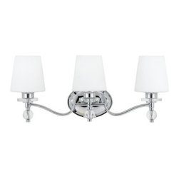 Quoizel Hollister HS8603C Bath Fixture - 23W in. - Polished Chrome - Whether your bathroom has a classic or more contemporary style, the Quoizel Hollister HS8603C Bath Fixture - 23W in. - Polished Chrome will provide a beautiful accent. Simple, yet elegant, this fixture features a gleaming, polished chrome finish with clear glass accents and pure white glass shades. Able to be mounted as an uplight or downlight, this bath fixture has a durable steel construction to give you years of use.About Quoizel LightingLocated in Charleston, South Carolina, Quoizel Lighting has been designing timeless lighting fixtures and home accessories since 1930. They offer a distinctive line of over 1,000 styles, including chandeliers, lamps, and hanging pendants. Quoizel Lighting is the perfect way to add an inviting atmosphere to any area in your home, both indoors and out.