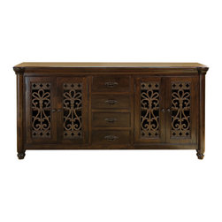 Kosas Collections - Lourdes 4 Drawer/4 Door Buffet - This wooden buffet provides a durable home for your belongings. Made from resilient acacia wood and distressed iron, this elegant piece is suitable for any room in your home or office. Four drawers and four doors allow for easy storage.