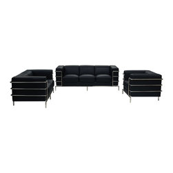 Diamond Sofa - Diamond Sofa Citadel 3-Piece Living Room Set in Black - The Citadel collection by Diamond  sofa is a Le-Corbusier-inspired design with an exposed tubular steel wrap-around frame. Covered with plush, deep cushioning, this contemporary collection offers a modern approach to a classic frame. The black bonded leather sofa, loveseat and chair features a kiln-dried hardwood frame that is glued and reinforced, offers strength, while the zig zag spring suspension base gives you a supple seating that will hold up for years. The elastic webbing back suspension offers additional stability while allowing for the leather to breathe and maintain its shape. Seat cushions are comprised of a high density foam cushion wrapped in polyester fibers to ensure a comfortable, relaxing and lasting seat. Seat cushions and back pillows are attached to the frame to eliminate shifts or gaps. The crisp and angular lines promote an aura of strikingly modern comfort. Deep black, bonded leather finishes the piece, to provide and ensure years of comfort and enjoyment. Citadel sofa measures 79 inches wide by 33 inches deep by 28 inches high. Citadel loveseat measures 58 inches wide by 33 inches deep by 28 inches high. Citadel chair measures 39 inches wide by 33 inches deep by 28 inches high.