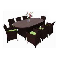 Reef Rattan - Reef Rattan Montserrat 9 Pc Dining Set - Chocolate Rattan / Green Cushions - Reef Rattan Montserrat 9 Pc Dining Set - Chocolate Rattan / Green Cushions. This patio set is made from all-weather resin wicker and produced to fulfill your needs for high quality. The resin wicker in this patio set won't fade, shrink, lose its strength, or snap. UV resistant and water resistant, this patio set is durable and easy to maintain. A rust-free powder-coated aluminum frame provides strength to withstand years of use. Sunbrella fabrics on patio furniture lends you the sophistication of a five star hotel, right in your outdoor living space, featuring industry leading Sunbrella fabrics. Designed to reflect that ultra-chic look, and with superior resistance to the elements in a variety of climates, the series stands for comfort, class, and constancy. Recreating the poolside high end feel of an upmarket hotel for outdoor living in a residence or commercial space is easy with this patio furniture. After all, you want a set of patio furniture that's going to look great, and do so for the long-term. The canvas-like fabrics which are designed by Sunbrella utilize the latest synthetic fiber technology are engineered to resist stains and UV fading. This is patio furniture that is made to endure, along with the classic look they represent. When you're creating a comfortable and stylish outdoor room, you're looking for the best quality at a price that makes sense. Resin wicker looks like natural wicker but is made of synthetic polyethylene fiber. Resin wicker is durable & easy to maintain and resistant against the elements. UV Resistant Wicker. Welded aluminum frame is nearly in-destructible and rust free. Stain resistant sunbrella cushions are double-stitched for strength and are fully machine washable. Removable covers made with commercial grade zippers. Tables include tempered glass top. 5 year warranty on this product. PLEASE NOTE: Throw pillows are NOT included. Oval Table