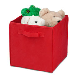 Honey Can Do - Non-Woven Foldable Storage Cube - Red - Durable polyester construction. Designed to hold Books, Toys, Games, Magazines, CDs, DVDs, almost anything. Contemporary design . Convenient and attractive storage. Folds flat when not in use. Stores away quick and easy. 10.6 in. L x 10.6 in. W x 11.4 in. H (1.3 lbs.)Honey-Can-Do SFT-01764 Folding Storage Cube, Red. Designed to hold books, toys, games, and anything else you want to stash away. The durable polyester construction, reinforced seams, and carrying handles on this storage cube will stand up to it all! The contemporary design provides convenient and attractive storage space for any decor. When not in use, the cube can fold flat for easy storing. Great for car trunks, kid's rooms, closets, shelving units, and more!