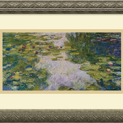 Amanti Art - The Water Lily Pond, 1918 Framed Print by Claude Monet - The subject of myriad interpretations by the artist, water lilies, became Monet's favorite motif in his twilight years. The shimmering quality of his brushstrokes, remain one of the most captivating qualities of his work.