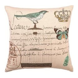 Printed Pillow with Writing, Teal Blue Bird, Butterfly 18 x 18 - Pretty neutral pillow with writing and teal bird on it. Cheerful and great for many decors.
