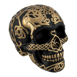 Black Skull with Metallic Gold Celtic Knotwork Statue Pagan - This highly detailed black and gold skull is an excellent addition to any skull collection. Made of cold cast resin, it measures 4 3/4 inches tall, 6 1/2 inches long, and 4 1/2 inches wide. The skull has a hand painted metallic gold endless Celtic knot pattern and is sure to complement most any decor. This piece is an awesome accent to bookcases, shelves, tables or desks in your home or office that is sure to be admired. It is also a thoughtful gift for a skull loving friend.