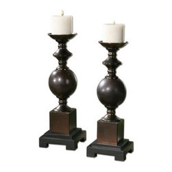 Uttermost - Uttermost 19760 Marcie Candleholders Set of 2 - Mingled red rust and aged black ceramic with copper bronze metal accents. Distressed beige candles included.