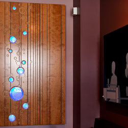 Acoustic Wood Panels - Acoustic wood panel with inset glass, back lit.