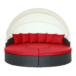 LexMod - Quest Canopy Outdoor Patio Daybed in Espresso Red - Complete your circle with four distinct wedges of joy. Quest pieces together the puzzle of experience with a fun and versatile daybed. Adjourn for your daytime repast either by yourself or with others. Like offering a friend a warm slice of pie, Quest's pieces easily separate to serve the seating needs of others. The set also comes equipped with a sun canopy to shield your leisure time with the pleasantness of shade. Courageously engaging, this is a daybed that reveals the hidden art of collaboration and communal engagement. Quest is comprised of a UV resistant rattan base, a powder-coated aluminum frame and all-weather cushions. The set is perfect for cafes, restaurants, pool areas, hotels, resorts and other outdoor spaces.