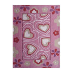 Rug - ~4 ft x 6 ft. Pink Kids Bedroom Area Rug with Hearts design,  Soft & hand-tufted - ZOOMANIA KIDS COLLECTION