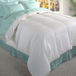 None - Damask Stripe 600 Thread Count Siberian White Down Comforter - This 600-thread-count white down comforter is filled with authentic Siberian down that keeps you warm even on the coldest of winter nights. It features baffle-box construction that keeps the down in its place,so you will stay warm all night long.