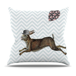 """Kess InHouse - Suzanne Carter """"Hare Today"""" Rabbit Throw Pillow (Outdoor, 20"""" x 20"""") - Decorate your backyard, patio or even take it on a picnic with the Kess Inhouse outdoor throw pillow! Complete your backyard by adding unique artwork, patterns, illustrations and colors! Be the envy of your neighbors and friends with this long lasting outdoor artistic and innovative pillow. These pillows are printed on both sides for added pizzazz!"""