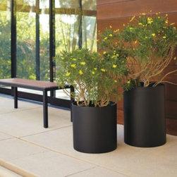Terrace Round Planters in Graphite -