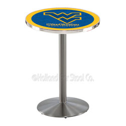Holland Bar Stool - Holland Bar Stool L214 - Stainless Steel West Virginia Pub Table - L214 - Stainless Steel West Virginia Pub Table belongs to College Collection by Holland Bar Stool Made for the ultimate sports fan, impress your buddies with this knockout from Holland Bar Stool. This L214 West Virginia table with round base provides a commercial quality piece to for your Man Cave. You can't find a higher quality logo table on the market. The plating grade steel used to build the frame ensures it will withstand the abuse of the rowdiest of friends for years to come. The structure is 304 Stainless to ensure a rich, sleek, long lasting finish. If you're finishing your bar or game room, do it right with a table from Holland Bar Stool. Pub Table (1)