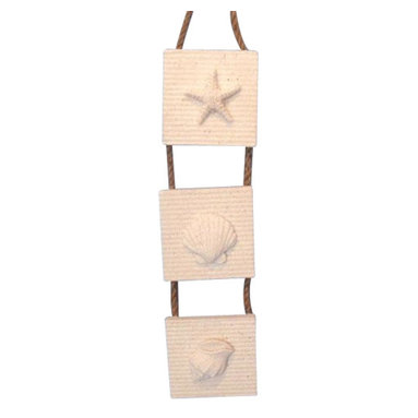 """Handcrafted Model Ships - Ceramic White Sand Starfish Shell and Conch 12"""" - Nautical Wall Hanging - The Ceramic White Sand Starfish Shell and Conch 12 """" is the perfect nautical wall hanging. If you are looking to add a beach accent to your home, you have found the right piece. These three plaques each contain a treasure from the sea. Give this as a nautical gift for those closest to you."""