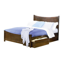 Atlantic Furniture - Atlantic Furniture Manhattan Platform Bed with Matching Footboard in Antique Wal - Atlantic Furniture - Beds - AP9646004
