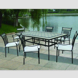 outdoor dining table chair set - Table: 160*90*H74cm        90/100KGs