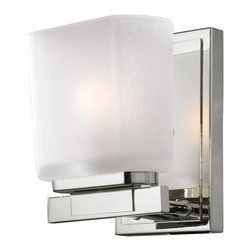 Z-Lite - Z-Lite Agra Bathroom Light X-V1-3003 - A single vanity light displayed in a square cube white frosted glass shade, finished in chrome for a fresh and modern look.