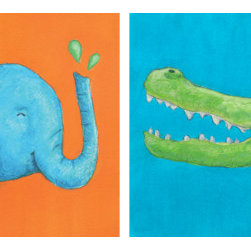 Wild Animals: Elephant And Alligator (Original) by Abby Kuperstock - Does your child LOVE the zoo and wild animals? Then these colorful paintings are just for them. This duo features an elephant and a green crocodile.