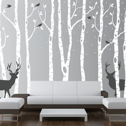 Innovative Stencils - Birch Tree Wall Decal Forest with Snow Birds and Deer Vinyl Sticker Removable, S - Scheme 1 colors: