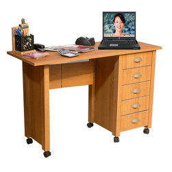 "Venture Horizon - Folding Mobile Desk & Craft Table w 5 Drawers - Folds for storage. Casters add mobility. Large work surface. 5 Handy drawers. Solid, sturdy, durable and easy to clean. Constructed from durable, stain resistant and laminated wood composites that includes MDF. Made in the USA. Assembly required. Weight: 57 lbs.. Table size:. Folded size: 20 in. W x 18 in. D x 29.5 in. H. Assembled size: 45 in. W x 18 in. D x 29.5 in. H. Drawers: 11.25 in. L x 13.25 in. W x 3 in. HFoldaway mobile desk center. Redesigned with larger and deeper drawers. Perfect for crafting! We took our best selling mobile desk and added some style. That's right. This version has thick corner posts and matching cup style handles made of durable metal like plastic. They seem to flow naturally from the drawer front panel. ""Beefy"" 2 inch thick legs give it a solid look and feel. Easy on the eyes as well as the pocketbook. Whether you want a sewing center, a handy organizer from which to pay bills or an extra desk for the home office, our Mobile Work Center is right for the job. Six dual-track carpet casters will let you roll it anywhere...to work or out of sight. The five deep, roomy drawers provide storage for just about anything you have in the way of office supplies or crafts. Because of it's increased dimensions each drawer will accommodate large sized craft paper. Constructed from durable melamine laminated particle board the Mobile Desks is stain resistant, easy to clean and will offer a life time of reliable service."