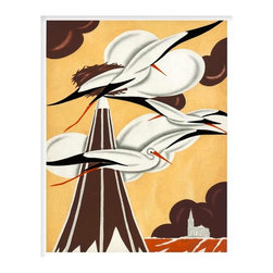 Cranes, Small, Unframed - This print is of one of a series of art deco illustrations depicting scenes on a vineyard, originally completed as promotions for a French wine company circa 1935 Paris.