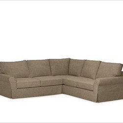 """PB Comfort Roll-Arm 3-Piece L Shaped Sectional Slipcovers, everydaysuede(TM) Pew - Designed exclusively for our PB Comfort Sectional, these soft, inviting slipcovers retain their smooth fit and remove easily for cleaning. Left 3-Piece Sectional with Box Cushions shown. Select """"Living Room"""" in our {{link path='http://potterybarn.icovia.com/icovia.aspx' class='popup' width='900' height='700'}}Room Planner{{/link}} to select a configuration that's ideal for your space. This item can also be customized with your choice of over {{link path='pages/popups/fab_leather_popup.html' class='popup' width='720' height='800'}}80 custom fabrics and colors{{/link}}. For details and pricing on custom fabrics, please call us at 1.800.840.3658 or click Live Help. All slipcover fabrics are hand selected for softness, quality and durability. Left-arm configuration is shown; also available in right-arm configuration. {{link path='pages/popups/sectionalsheet.html' class='popup' width='720' height='800'}}Left-arm or right-arm configuration{{/link}} is determined by the location of the arm on the love seat as you face the piece. This is a special-order item and ships directly from the manufacturer. To see fabrics available for Quick Ship and to view our order and return policy, click on the Shipping Info tab above. Watch a video about our exclusive {{link path='/stylehouse/videos/videos/pbq_v36_rel.html?cm_sp=Video_PIP-_-PBQUALITY-_-SUTTER_STREET' class='popup' width='950' height='300'}}North Carolina Furniture Workshop{{/link}}."""