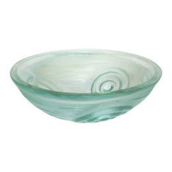 Eden Bath - Eden Bath GS21 Clear Swirls Glass Vessel Sink - This glass vessel sink from Eden Bath is made of high quality tempered glass. Eden Bath specializes in unique glass vessel sinks that you won't find anywhere else. Many glass sinks feature hand painted finishes embedded in the glass which can not be compared to your run of the mill glass vessl sink. We recommend that you also purchase a mounting ring and drain with your glass sink in the same finish of your faucet.