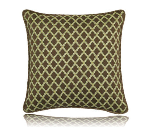 Elaine Smith - chocolate lattice pillow (17x17) - Performance pillows from renowned textile designer Elaine Smith® feature unique fabrics that are both soft and stylish, rich in color, lavish in detail, and impervious to the elements.