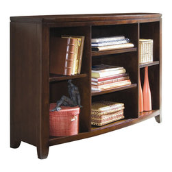 American Drew - American Drew Tribecca Bookcase Console in Root Beer Finish - American Drew - Console Tables - 912926 - The Tribecca Bookcase Console doubles as a television console and a storage unit. Featuring 4 adjustable shelves, the unit can easily store books, movies, or even a DVD or Blu-Ray player. Whatever your need, this console is sure to please and is versatile enough to let you reorganize the shelves and breathe new life into your decor without having to change an entire piece.