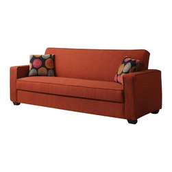 "Acme - Shani Collection Red Linen Fabric Upholstery Convertible Sofa - Shani collection red linen fabric upholstery convertible sofa with storage underneath seat. This sofa features a fold down back for a sleep area, a fold up seat for additional storage. Sofa measures upright 87"" x 33"" x 35""H. Laying flat measures 87"" x 45"" x 24""H. Some assembly required."