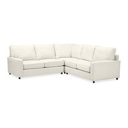 """PB Comfort Square Arm Upholstered 3-Piece L-Shaped Corner Sectional, Knife Edge - Built by our own master upholsterers in the heart of North Carolina, our PB Comfort Square Upholstered sectional is designed for unparalleled comfort with deep seats and three layers of padding. 107.5"""" w x 107.5"""" d x 42"""" d x 39"""" h {{link path='pages/popups/PB-FG-Comfort-Square-Arm-4.html' class='popup' width='720' height='800'}}View the dimension diagram for more information{{/link}}. {{link path='pages/popups/PB-FG-Comfort-Square-Arm-6.html' class='popup' width='720' height='800'}}The fit & measuring guide should be read prior to placing your order{{/link}}. Choose polyester wrapped cushions for a tailored and neat look, or down-blend for a casual and relaxed look. Choice of knife-edged or box-style back cushions. Proudly made in America, {{link path='/stylehouse/videos/videos/pbq_v36_rel.html?cm_sp=Video_PIP-_-PBQUALITY-_-SUTTER_STREET' class='popup' width='950' height='300'}}view video{{/link}}. For shipping and return information, click on the shipping tab. When making your selection, see the Quick Ship and Special Order fabrics below. {{link path='pages/popups/PB-FG-Comfort-Square-Arm-7.html' class='popup' width='720' height='800'}} Additional fabrics not shown below can be seen here{{/link}}. Please call 1.888.779.5176 to place your order for these additional fabrics."""