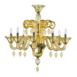 Cyan Design - Cyan Design Eight Lamp Chandelier in Amber - Eight Lamp Chandelier in Amber with Candle Shaped Bulbs.