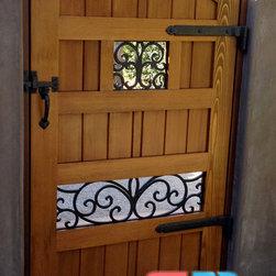 Double Scroll Window - Clear cedar gate with rod iron scrollwork