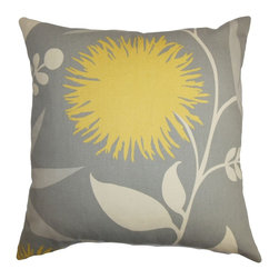 The Pillow Collection - Huberta Floral Pillow Gray Yellow - Finish off your interiors with this summer-ready floral pillow. This accent pillow comes with a bold floral design in shades of yellow and white set against a gray background. Create a garden-inspired theme for your living room, bedroom or lounge area by pairing this square pillow with other patterns and colors. This 100% cotton-made pillow is ideal for indoor use. Hidden zipper closure for easy cover removal.  Knife edge finish on all four sides.  Reversible pillow with the same fabric on the back side.  Spot cleaning suggested.