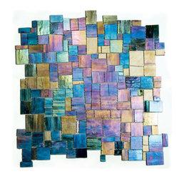 Emenne Melange Jolie Abalone - Stained glass iridescent mosaic mesh mounted
