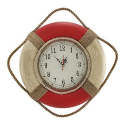 Red and White Life Ring Wall Clock 14 Inch - This life ring wall clock adds a wonderful accent to rooms with a nautical or beach theme. It measures 14 inches in diameter and has twisted rope accents, as well as a hand painted, distressed finish. The clock face is glass and measures 8 inches in diameter. It features quartz movement, and runs on 1 AA battery (not included). This clock looks great in homes, restaurants, and bars, and is sure to be admired by all.