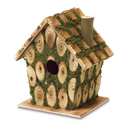 Koolekoo - Moss-Edged Birdhouse - This is knot your ordinary birdhouse! Charmingly constructed of bits of knotty wood and richly trimmed with bright green faux-moss, this crafty little cottage brings whimsical homespun fun to your garden.