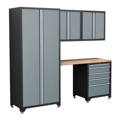 NewAge - NewAge 5 pc. Pro Series Locker & Cabinet System - 31500 - Shop for Cabinets from Hayneedle.com! With easy-to-move modular units the NewAge 5 pc. Cabinet System is kind of like a grownup set of blocks - and they help you clean up a mess to boot. The set includes two wall cabinets a floor cabinet a tall locker and a wood work top that makes a convenient work area. Each cabinet is crafted with durable heavy-duty 18-gauge steel finished with a scratch- and stain-resistant powder coat. The wall cabinets and locker boasts two magnetic-latch doors that open to shelving. The wall units feature pegboard side panels for hanging tools. The fully lockable drawer unit's five drawers move smoothly on full-extension ball-bearing glides and the wood top is a thick slab of solid rock maple butcher block. Dimensions Wall cabinets: 28W x 14D x 28H inches; Shelf weight capacity: 100 lbs; Overall weight capacity: 200 lbs Locker: 36W x 24D x 84H inches; Shelf weight capacity: 300 lbs; Overall weight capacity: 1000 lbs Drawer cabinet: 28W x 24D x 34.5H inches; Drawer weight capacity: 90 lbs; Overall weight capacity: 1000 lbs Top: 56W x 25D x 1.25H inches About NewAge Products A primary leader in home and garage storage NewAge Products consistently designs and makes first-class products that continually leave the competition behind while remaining affordable for you. It's NewAge's mission to help you eliminate the clutter from your home and garage transforming any space into a fully functional completely livable area. Offering great products great prices and excellent customer service NewAge is a company you can get behind!