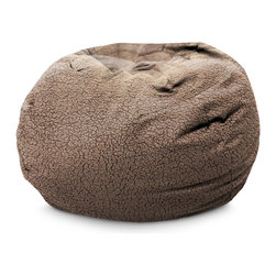 Comfort Research - BeanSack Ultra Brown Sherpa Lounge Bean Bag Chair - Comfortable and durable, this BeanSack ultra lounge chair is filled with long-lasting polystyrene beans. The casual bean bag is perfect to relax in any room, including kid's rooms, dorm rooms, home theater rooms, family and game rooms.