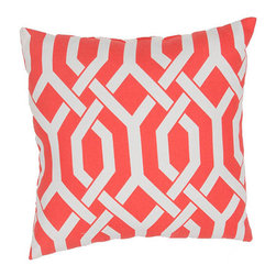 Jaipur - Veranda Coral 20-Inch Decorative Pillow - - These fashion forward pillows in trellis stripes and whimsical patterns are for both indoor and outdoor use     - Care Instructions: Remove the throw pillow's cover if it is removable. Wash the cover separately from the pillow. Pre-treat badly soiled or stained areas on the pillow cover with a color-safe prewash spray. Rub the spray into the stain with a damp sponge. Wash the pillow cover or the whole pillow on a gentle-wash cycle in warm water with a very mild detergent. Detergent for delicate fabrics or baby clothes is usually suitable. Remove the pillow or pillow cover as soon as the washing machine has ended the cycle and has shut off. Hang the pillow or cover up to dry in a well-ventilated area. If the care label specifies that the item is dryer-safe place the pillow or pillow cover in the dryer and tumble dry on low heat. Fluff the pillow once it is dry in order to maintain its form. Don't use the pillow until it is completely dry. Damp pillows will attract dirt more easily  - Made in USA Jaipur - PLW101757