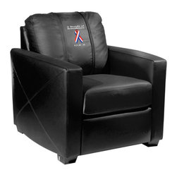 Dreamseat Inc. - 9-11 Decade of Remembrance Xcalibur Leather Arm Chair - Check out this incredible Arm Chair. It's the ultimate in modern styled home leather furniture, and it's one of the coolest things we've ever seen. This is unbelievably comfortable - once you're in it, you won't want to get up. Features a zip-in-zip-out logo panel embroidered with 70,000 stitches. Converts from a solid color to custom-logo furniture in seconds - perfect for a shared or multi-purpose room. Root for several teams? Simply swap the panels out when the seasons change. This is a true statement piece that is perfect for your Man Cave, Game Room, basement or garage.