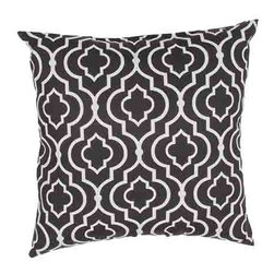 Jaipur - Veranda Night 18-Inch Decorative Pillow - - These fashion forward pillows in trellis stripes and whimsical patterns are for both indoor and outdoor use     - Care Instructions: Remove the throw pillow's cover if it is removable. Wash the cover separately from the pillow. Pre-treat badly soiled or stained areas on the pillow cover with a color-safe prewash spray. Rub the spray into the stain with a damp sponge. Wash the pillow cover or the whole pillow on a gentle-wash cycle in warm water with a very mild detergent. Detergent for delicate fabrics or baby clothes is usually suitable. Remove the pillow or pillow cover as soon as the washing machine has ended the cycle and has shut off. Hang the pillow or cover up to dry in a well-ventilated area. If the care label specifies that the item is dryer-safe place the pillow or pillow cover in the dryer and tumble dry on low heat. Fluff the pillow once it is dry in order to maintain its form. Don't use the pillow until it is completely dry. Damp pillows will attract dirt more easily  - Made in USA Jaipur - PLW101734