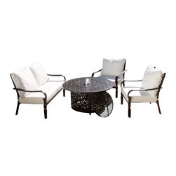 Great Deal Furniture - Ibiza 4-piece Outdoor Fire Pit Chat Set - There's nothing more relaxing and carefree than sitting around a fire with your friends and family and the Ibiza 4-piece Outdoor Fire Pit Chat Set is a casual yet elegant way to turn your patio or outdoor space into relaxation central. This handsome patio set is constructed from durable aluminum, designed to withstand years of inclement elements. The arm chairs feature an ornate pattern and are fitted with weather-resistant Sunbrella fabric cushions, which withstand harsh weather conditions better than traditional polyester.