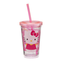 Hello Kitty - Hello Kitty 12-Oz. Travel Cup - Take lemonade and ice water on the go with this sweet tumbler. Featuring a Hello Kitty theme, it boasts a durable acrylic construction plus a straw and lid for spill-free sipping.   Holds 12 oz. Acrylic Hand wash Imported