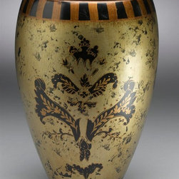 AA Importing - Hand-Painted Asian Inspired Porcelain Vase in - This vase has an Asian inspired design that will work well in any room of your home. Use in combination with matching items, or use alone for a beautiful accent piece. Features a hand painted finish with a floral design combined with striped accents and scrolled details. Brushed Gold painted porcelain with Black painted sponge-like accents. Hand-painted scrollwork design. Striped trim on lid. Inside is painted Black. 8 in. Dia. x 11.5in. H