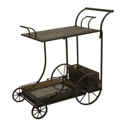 "IMAX - CKI Mandalay Wine Cart - By designer Carolyn Kinder, this rich, dark woven PE is weather resistant and features two removable trays which can be used for serving. Item Dimensions: (35.75""h x 36""w x 19.25"")"