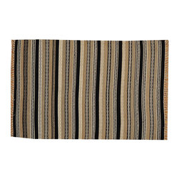1800-Get-A-Rug - 100% Wool Striped Durie Kilim Flat Weave Hand Woven Oriental Rug Sh15692 - The Flat Weave hand woven rug is a type of area rug created by weaving wool onto a foundation of cotton warps on a loom. The Flat Weave rug offers the same beauty and durability as the classical thick-pile Oriental rugs, but without the telltale thick pile often spotted in other rugs. This gives the Flat weave a thin and flat appearance which resembles the Needlepoint, making them wonderfully ideal choices as accent rugs, wall hangings, or to drape over furniture and staircases.