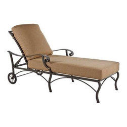 OW Lee - OW Lee Palisades Chaise Lounge - The Palisades collection embodies a transitional California style that embraces a modern feel applied to traditional form. A statement of design and sophistication Palisades uses bold lines and distinct craftsmanship to draw the eye and become the center piece of your outdoor room.Since 1947 O. W. Lee has been making hand wrought iron casual patio furniture In the United States. O. W. Lee's designs evoke classical European and traditional South West American aesthetics. Created with traditional blacksmithing techniques but ideally suited for our modern lifestyles. Based in California O.W. Lee updates traditional with modern equipment and materials to produce beautiful durable furniture. From the reticulated foam in the cushions to their galvanized metal frames; O.W. Lee consistently strives for and achieves style comfort and durability. Oversized cushions fire pits and inviting designs encourage casual lounging on your patio.