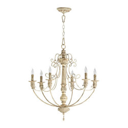Quorum International - Salento Persian White Six-Light Chandelier - Salento Persian White Six-Light Chandelier  - Includes 8? of chain and 10? of wire.  - Canopy is 5 1/2 inches in diameter and 1 3/4 inches in height Quorum International - 6106-6-70
