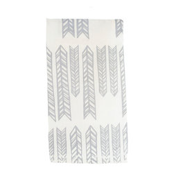 Arrow Dish Towel, Grey - This 100% organic linen dish towel is uniquely hand designed, printed and sewn to bring joy and color to your kitchen.